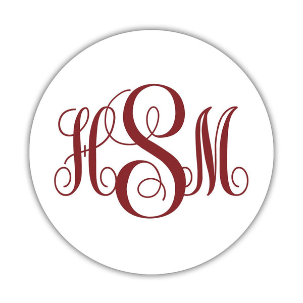 "Monogram stickers 'Ornate Elegance' - 1.5"" circle = 30 labels per sheet / Maroon - Dazzling Daisies"