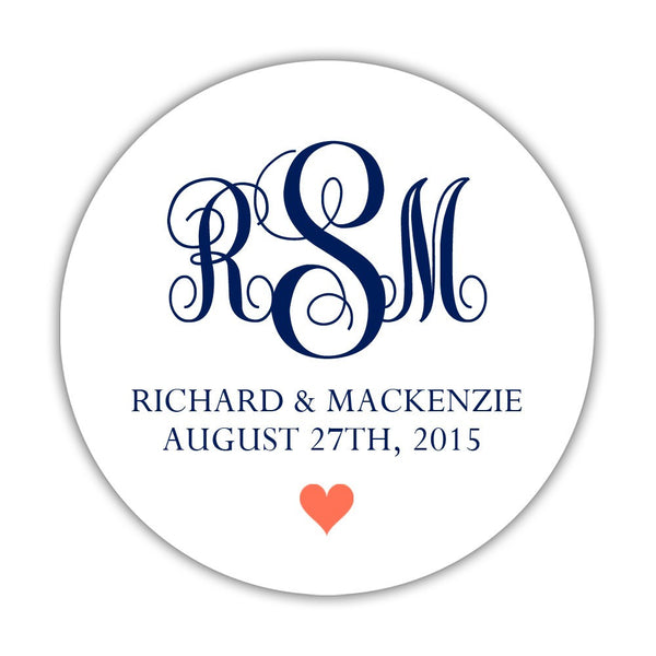 "Monogram wedding stickers - 1.5"" circle = 30 labels per sheet / Navy/Coral - Dazzling Daisies"