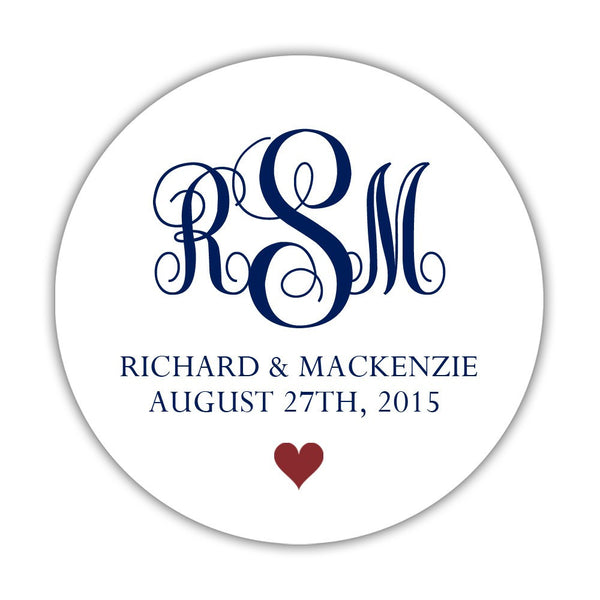 "Monogram wedding stickers - 1.5"" circle = 30 labels per sheet / Navy/Maroon - Dazzling Daisies"