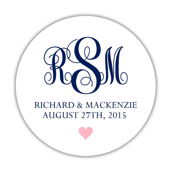 "Monogram wedding stickers - 1.5"" circle = 30 labels per sheet / Navy/Pink - Dazzling Daisies"