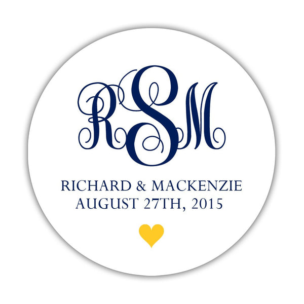 "Monogram wedding stickers - 1.5"" circle = 30 labels per sheet / Navy/Yellow - Dazzling Daisies"