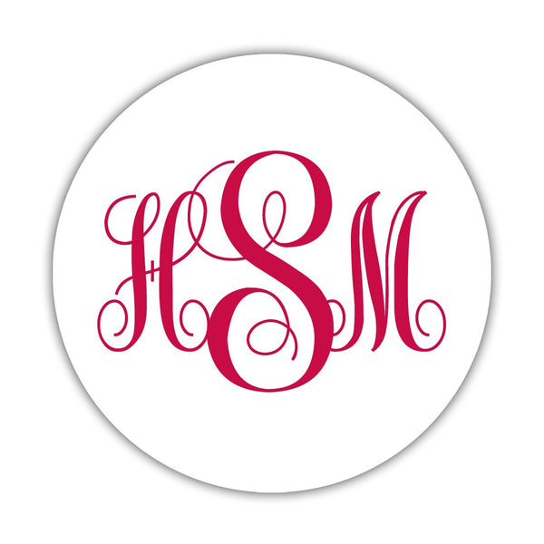"Monogram stickers 'Ornate Elegance' - 1.5"" circle = 30 labels per sheet / Raspberry - Dazzling Daisies"