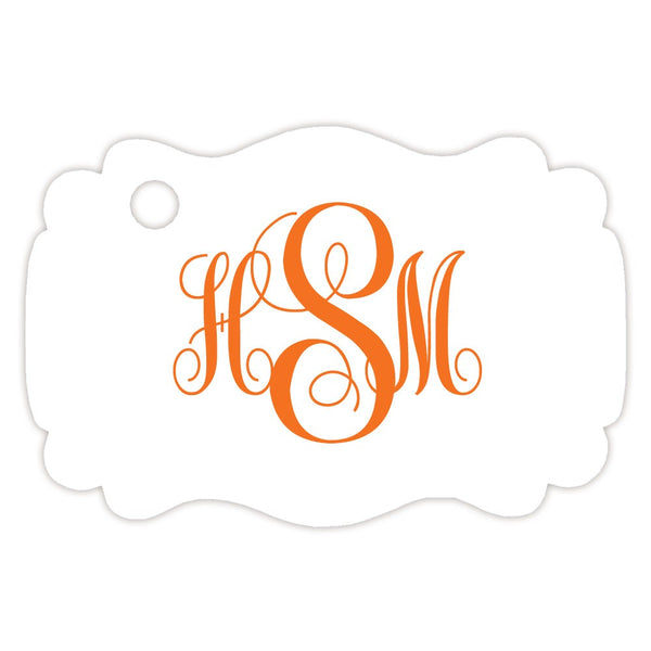 Monogram tags 'Ornate Elegance' - Orange - Dazzling Daisies