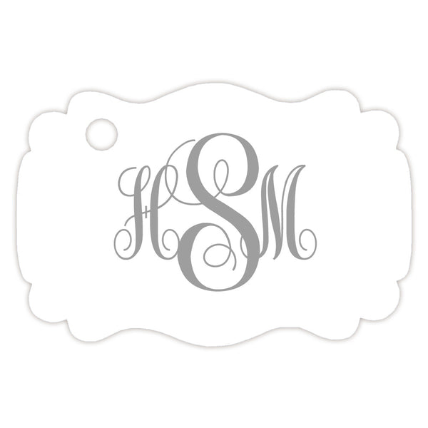 Monogram tags 'Ornate Elegance' - Silver - Dazzling Daisies