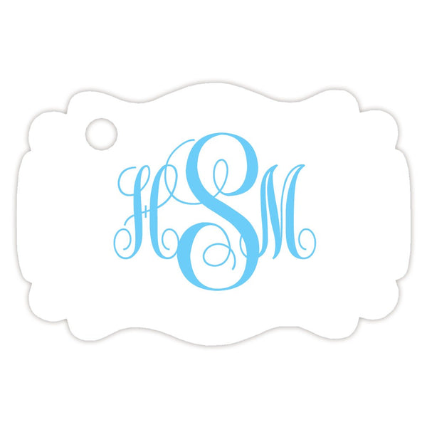 Monogram tags 'Ornate Elegance' - Sky blue - Dazzling Daisies
