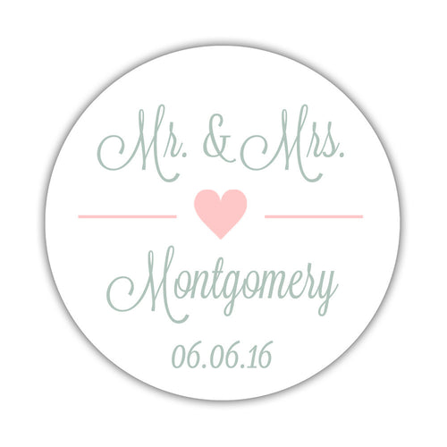 "Mr. and Mrs. stickers 'Perfectly Framed' - 1.5"" circle = 30 labels per sheet / Blush - Dazzling Daisies"