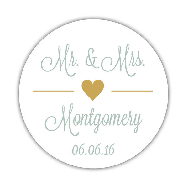 "Mr. and Mrs. stickers 'Perfectly Framed' - 1.5"" circle = 30 labels per sheet / Gold - Dazzling Daisies"