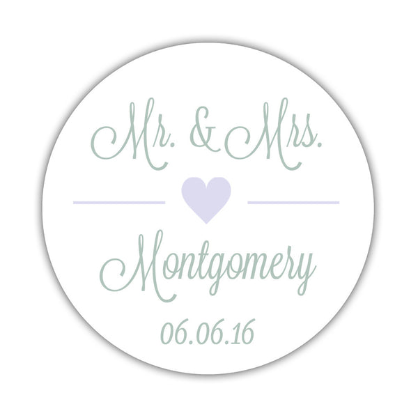 "Mr. and Mrs. stickers 'Perfectly Framed' - 1.5"" circle = 30 labels per sheet / Lavender - Dazzling Daisies"