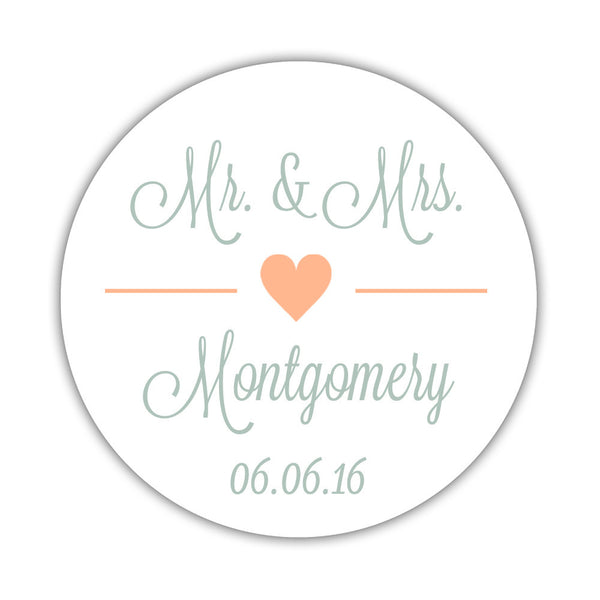 "Mr. and Mrs. stickers 'Perfectly Framed' - 1.5"" circle = 30 labels per sheet / Peach - Dazzling Daisies"