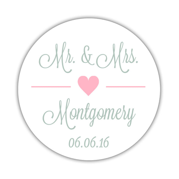 "Mr. and Mrs. stickers 'Perfectly Framed' - 1.5"" circle = 30 labels per sheet / Pink - Dazzling Daisies"