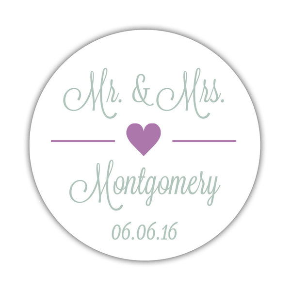 "Mr. and Mrs. stickers 'Perfectly Framed' - 1.5"" circle = 30 labels per sheet / Plum - Dazzling Daisies"