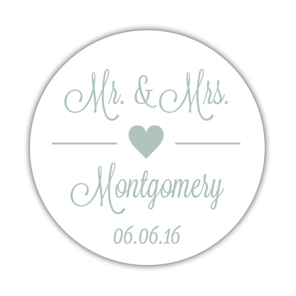 "Mr. and Mrs. stickers 'Perfectly Framed' - 1.5"" circle = 30 labels per sheet / Sage - Dazzling Daisies"