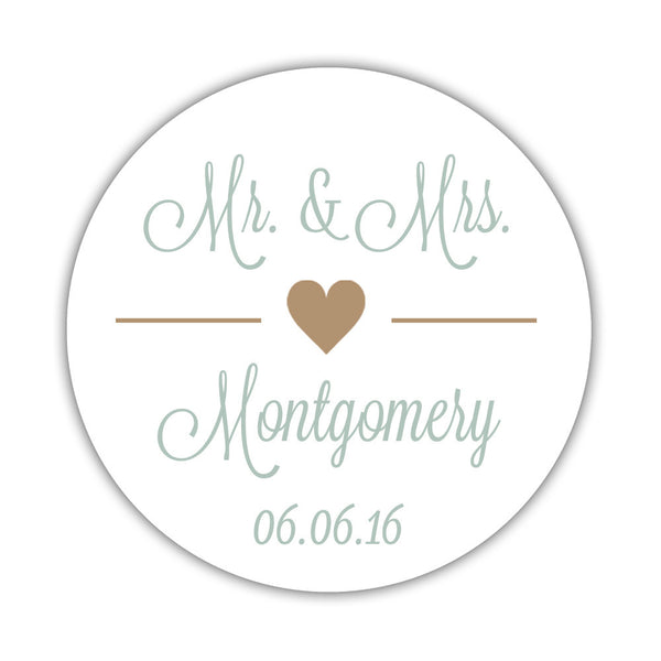 "Mr. and Mrs. stickers 'Perfectly Framed' - 1.5"" circle = 30 labels per sheet / Sand - Dazzling Daisies"