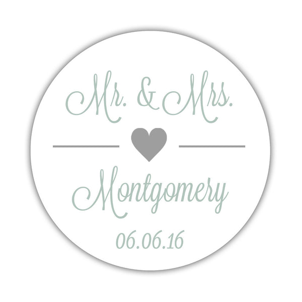 "Mr. and Mrs. stickers 'Perfectly Framed' - 1.5"" circle = 30 labels per sheet / Silver - Dazzling Daisies"