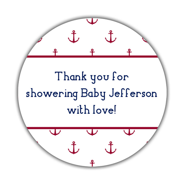 "Nautical baby shower stickers - 1.5"" circle = 30 labels per sheet / Indian red - Dazzling Daisies"