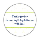 "Nautical baby shower stickers - 1.5"" circle = 30 labels per sheet / Lime - Dazzling Daisies"