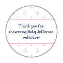 "Nautical baby shower stickers - 1.5"" circle = 30 labels per sheet / Pink - Dazzling Daisies"