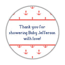 "Nautical baby shower stickers - 1.5"" circle = 30 labels per sheet / Red - Dazzling Daisies"