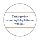 "Nautical baby shower stickers - 1.5"" circle = 30 labels per sheet / Sand - Dazzling Daisies"