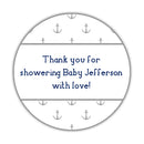 "Nautical baby shower stickers - 1.5"" circle = 30 labels per sheet / Silver - Dazzling Daisies"
