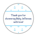 "Nautical baby shower stickers - 1.5"" circle = 30 labels per sheet / Sky blue - Dazzling Daisies"