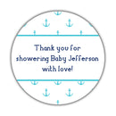 "Nautical baby shower stickers - 1.5"" circle = 30 labels per sheet / Turquoise - Dazzling Daisies"