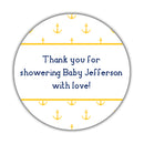 "Nautical baby shower stickers - 1.5"" circle = 30 labels per sheet / Yellow - Dazzling Daisies"