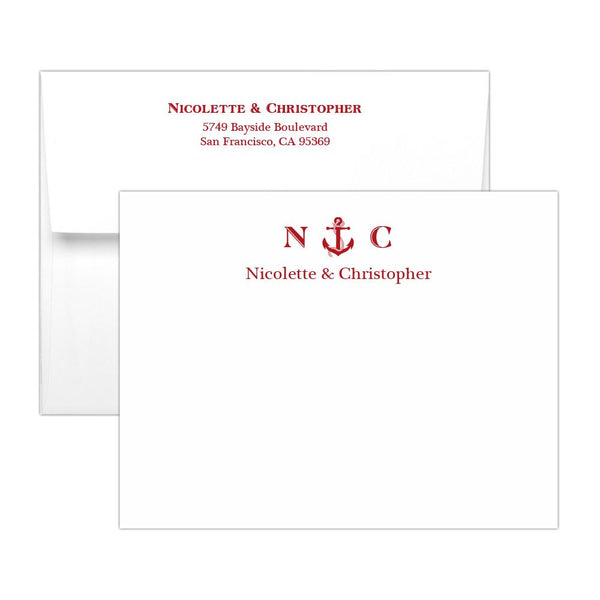Nautical note cards - Indian red - Dazzling Daisies