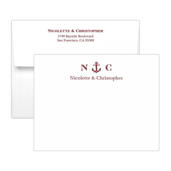 Nautical note cards - Maroon - Dazzling Daisies