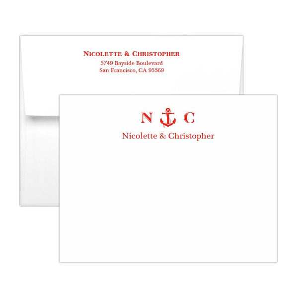 Nautical note cards - Red - Dazzling Daisies