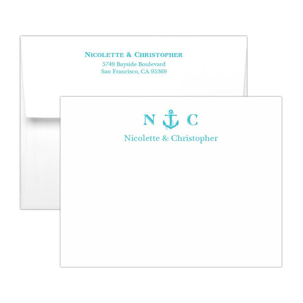 Nautical note cards - Turquoise - Dazzling Daisies