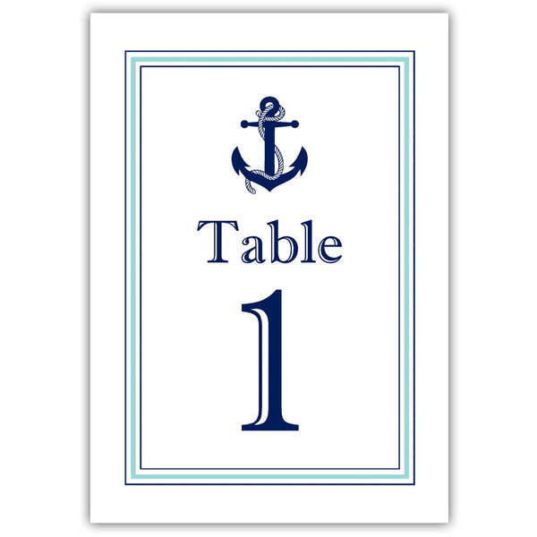 Nautical table numbers - 1-6 / Aquamarine - Dazzling Daisies