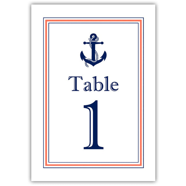 Nautical table numbers - 1-6 / Coral - Dazzling Daisies