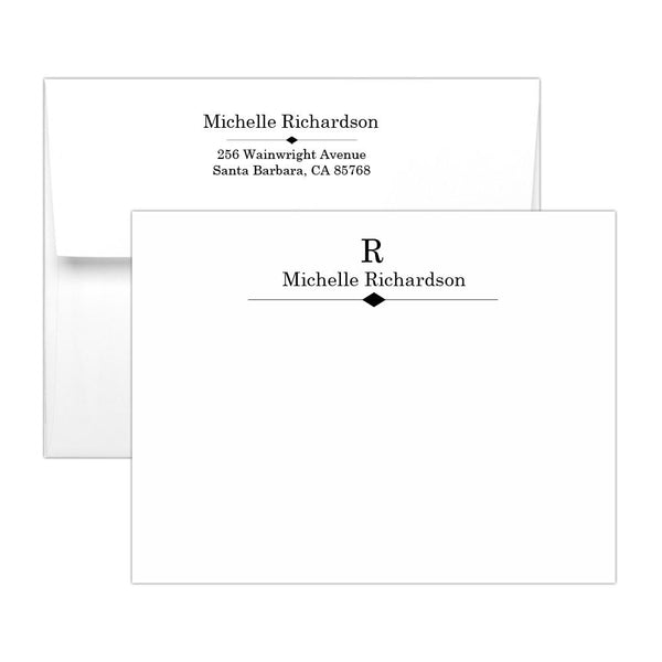Personalized note cards 'Diamond Element' - Black - Dazzling Daisies