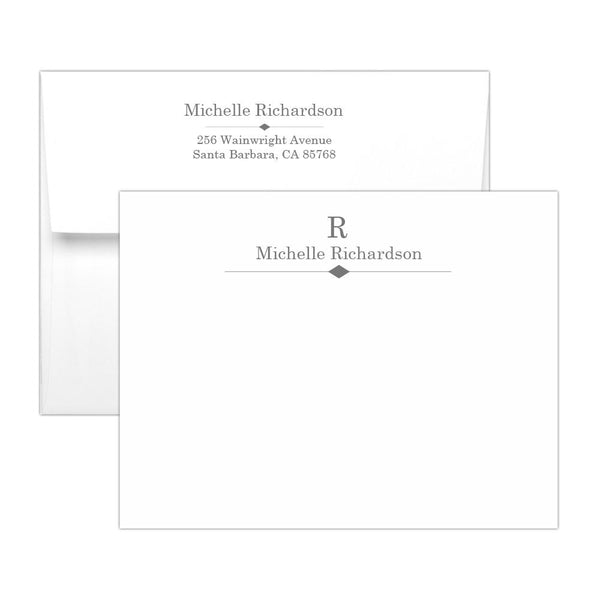 Personalized note cards 'Diamond Element' - Gray - Dazzling Daisies