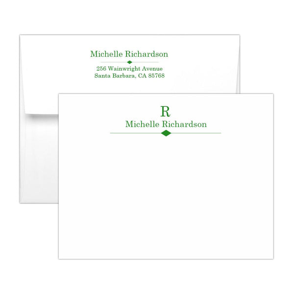 Personalized note cards 'Diamond Element' - Green - Dazzling Daisies