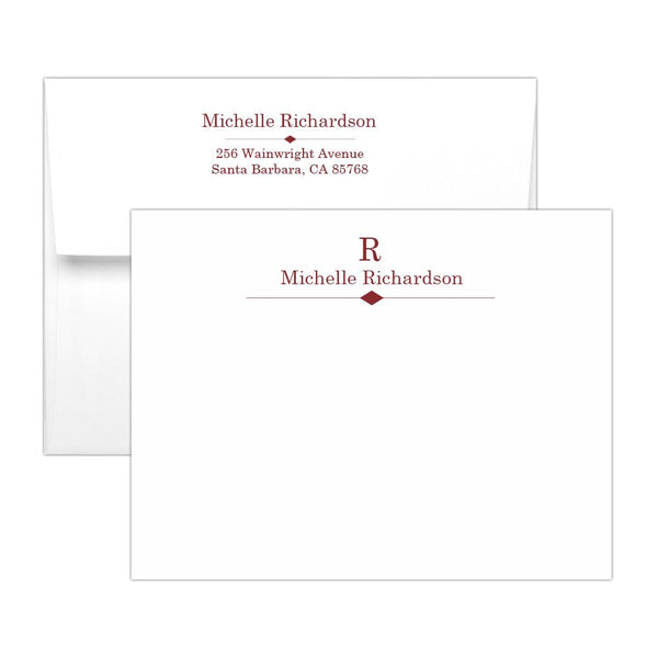 Personalized note cards 'Diamond Element' - Maroon - Dazzling Daisies