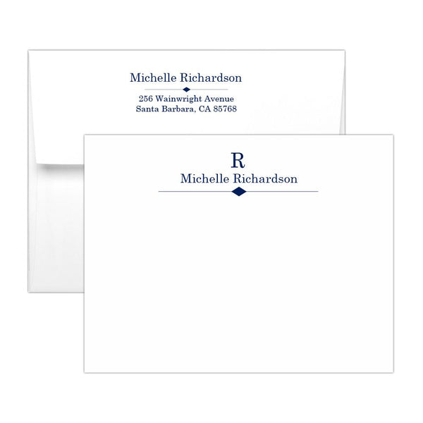 Personalized note cards 'Diamond Element' - Navy - Dazzling Daisies