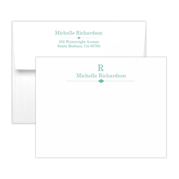Personalized note cards 'Diamond Element' - Ocean - Dazzling Daisies