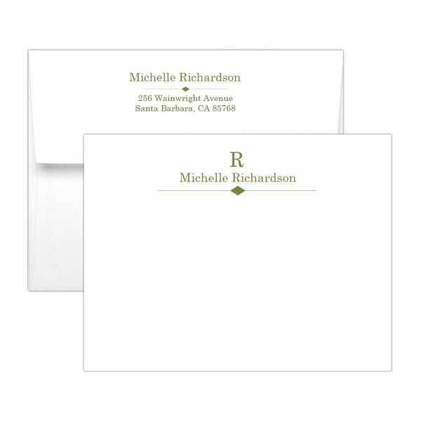 Personalized note cards 'Diamond Element' - Olive - Dazzling Daisies