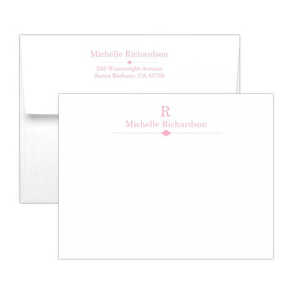 Personalized note cards 'Diamond Element' - Pink - Dazzling Daisies