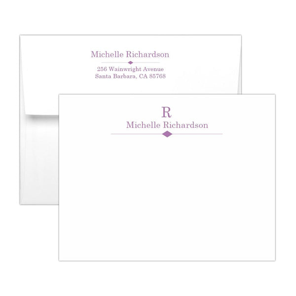 Personalized note cards 'Diamond Element' - Plum - Dazzling Daisies