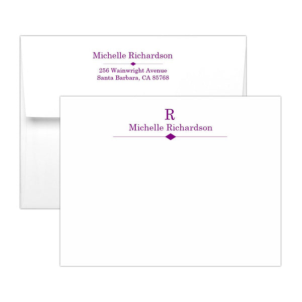 Personalized note cards 'Diamond Element' - Purple - Dazzling Daisies