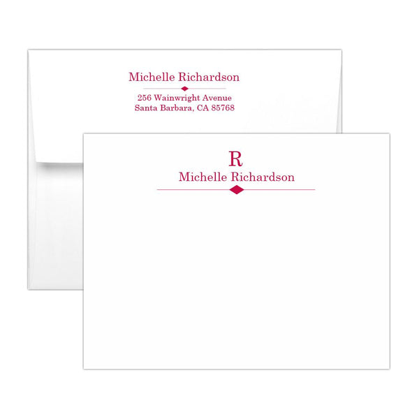 Personalized note cards 'Diamond Element' - Raspberry - Dazzling Daisies