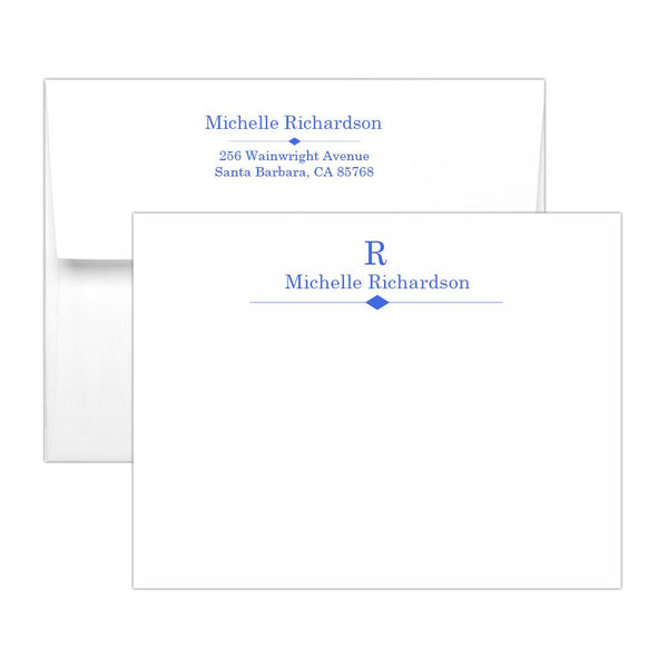 Personalized note cards 'Diamond Element' - Royal blue - Dazzling Daisies