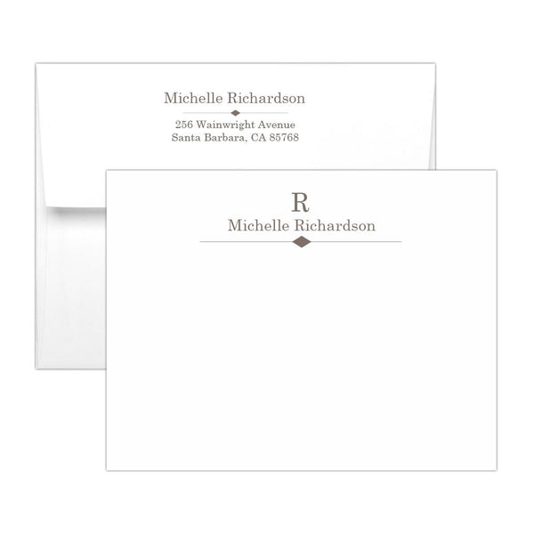 Personalized note cards 'Diamond Element' - Taupe - Dazzling Daisies