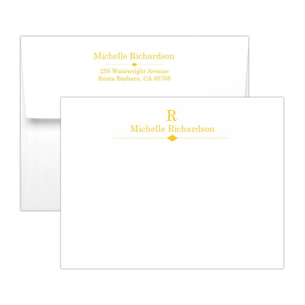Personalized note cards 'Diamond Element' - Yellow - Dazzling Daisies