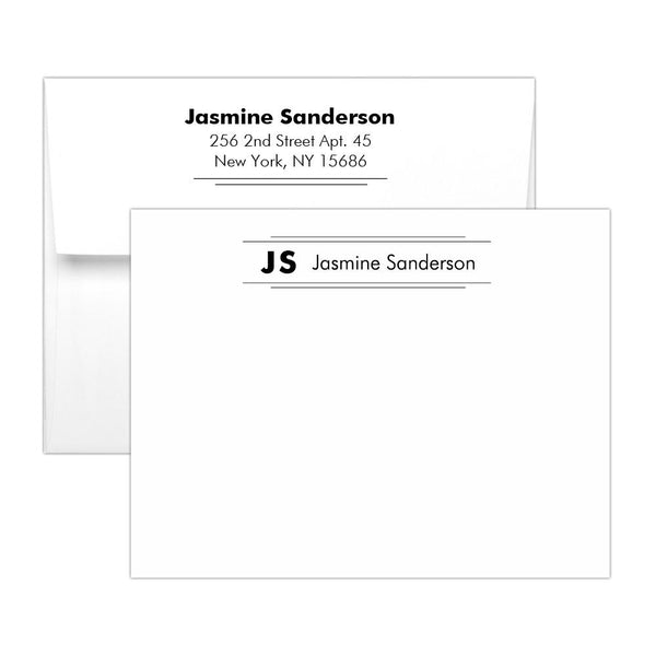 Personalized note cards 'Modern Stripes' - Black - Dazzling Daisies