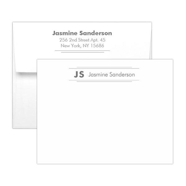 Personalized note cards 'Modern Stripes' - Gray - Dazzling Daisies