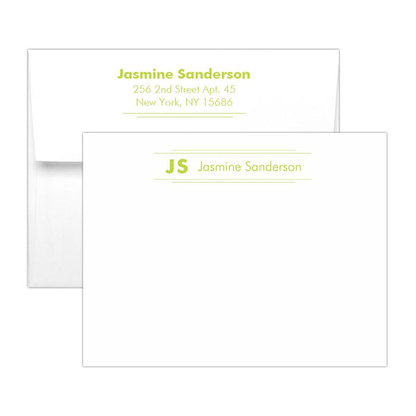 Personalized note cards 'Modern Stripes' - Lime - Dazzling Daisies